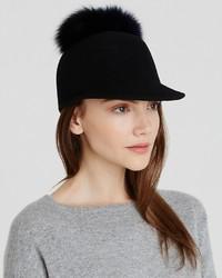 Helene Berman Fox Fur Pom Pom Cap