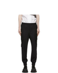 Neil Barrett Black Wool Carrot Cargo Pants