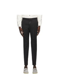 Z Zegna Black Elastic Waist Dress Trousers