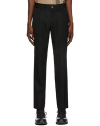 Burberry Black Technical Wool Cropped Tailored Trousers