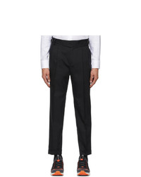 Z Zegna Black Wool And Cotton Trousers