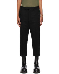Rick Owens Black Wool Cropped Astaires Trousers
