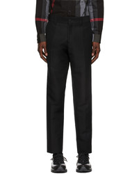 Burberry Black Wool Cropped Tailored Trousers