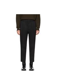 AMI Alexandre Mattiussi Black Wool Pleated Trousers
