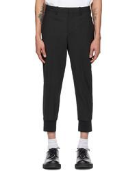Neil Barrett Black Wool Travel Slim Low Rise Trousers