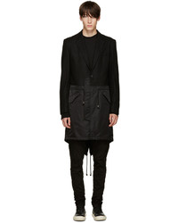 D.gnak By Kang.d Black Mixed Fishtail Coat