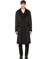 Versace Black Nylon Wool Combo Coat