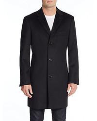 Saks Fifth Avenue Trim Fit Notched Lapel Wool Cashmere Coat