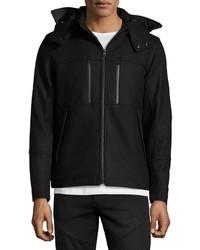 T Tahari Waterproof Hooded Wool Blend Coat Black