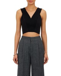 Charles Youssef V Neck Sleeveless Crop Top Black
