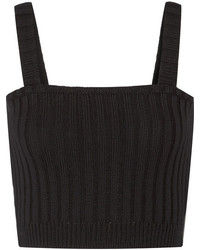 Valentino Cropped Ribbed Wool Top Black