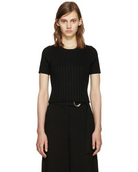 Proenza Schouler Black Ribbed Cropped Top