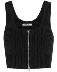 Alexander Wang T By Cropped Ribbed Knit Cotton Blend Top