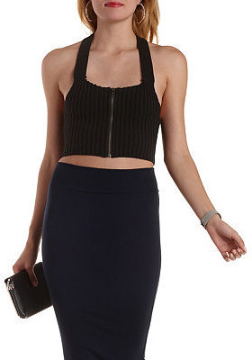 Charlotte Russe Zip Up Sweater Knit Crop Top Where To Buy How To