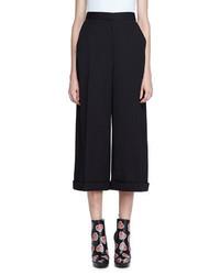 Alexander McQueen High Waist Wide Leg Cuffed Pants Black