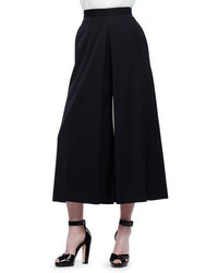 Alexander McQueen High Waist Wide Leg Culotte Pants Black