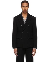 Amiri Black Boiled Wool Double Breasted Blazer