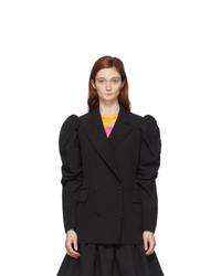 MSGM Black Ruched Sleeve Blazer