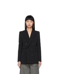 Saint Laurent Black Wool Double Breasted Gros Blazer