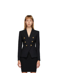 Balmain Black Wool Serge 6 Button Blazer