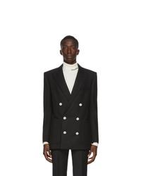 Balmain Black Wool Twill Double Breasted Blazer