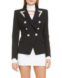 Balmain Embellished Double Breasted Wool Blazer