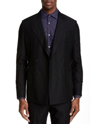 Eidos Fit Hopsack Wool Blend Double Breasted Dinner Jacket