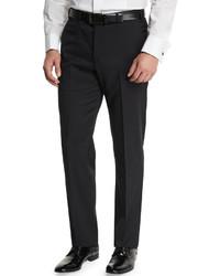 Armani Collezioni Basic Flat Front Wool Trousers Black