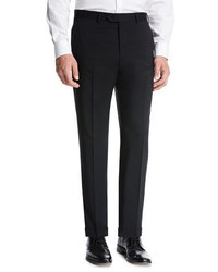 Giorgio Armani Basic Wool Flat Front Trousers Black