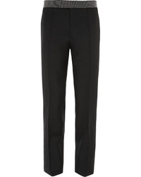 Alexander McQueen Black Slim Fit Wool And Mohair Blend Tuxedo Trousers