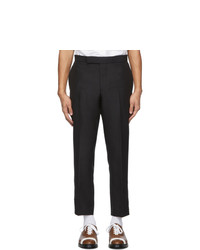 Thom Browne Black Wool Vented Slim Trousers