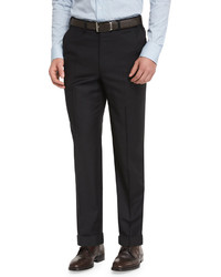 Brioni Phi Flat Front Wool Trousers Black