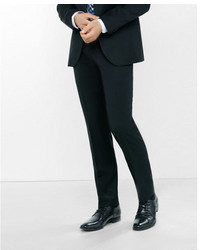 Express Slim Black Wool Blend Twill Suit Pant