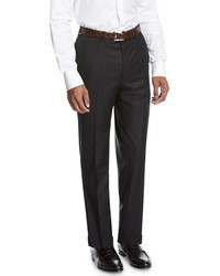 Brioni Wool Flat Front Trousers Black