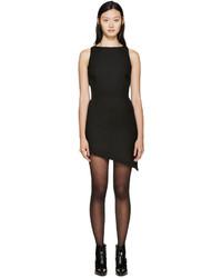 Saint Laurent Black Boatneck Asymetrical Wool Dress
