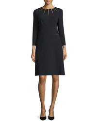 Escada Bracelet Sleeve Sunray Stretch Wool Dress Black