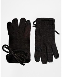 Asos Gloves With Bow And Touch Screen Detail Black