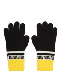 Fendi Black And Yellow Wool Forever Gloves
