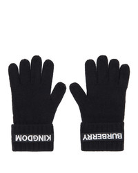 Burberry Black Cashmere Logo And Kingdom Gloves