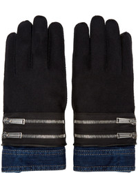 DSQUARED2 Black Denim Cuff Gloves