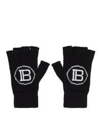 Balmain Black Logo Fingerless Gloves