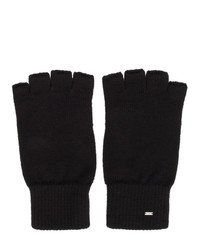 Saint Laurent Black Wool Fingerless Gloves