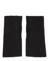 Dolce and Gabbana Black Wool Fingerless Gloves