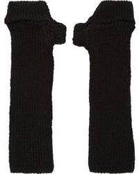 Julius Black Wool Knit Cut Off Gloves