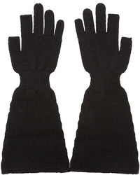 Rick Owens Black Wool Knit Sphinx Gloves