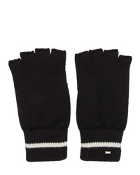 Saint Laurent Black Wool Stripe Fingerless Gloves