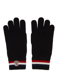 Moncler Black Wool Stripe Gloves