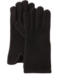 Portolano Cashmere Honeycomb Knit Glove Black