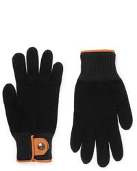 Oliver Spencer Cross Country Leather Trimmed Wool Blend Gloves