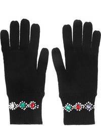 Markus Lupfer Crystal Embellished Merino Wool Gloves